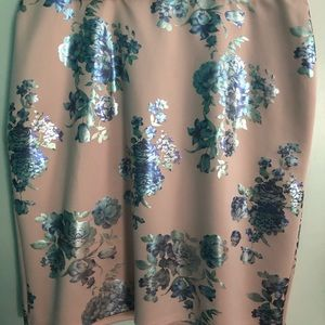 Pink with blue flower skirt